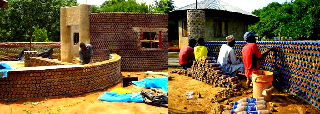 La casa costruita con bottiglie di plastica in nigeria for Materiali da costruzione della casa